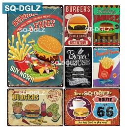 [SQ-DGLZ] hamburgery i frytki metalowy znak Bar dekoracje ścienne plakietka emaliowana Vintage metalowe znaki wystrój domu malow