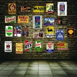 Olej silnikowy opona metalowa tablica Vintage cyny znak ściana Bar Pub sklep garaż Home Art Decor żelaza malowanie A-3503