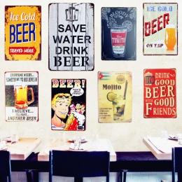 Zapisać wody pić piwo plakietka emaliowana Vintage Metal plakat dekoracyjne BAR metalowa płytka płytki naklejki ścienne żelaza m