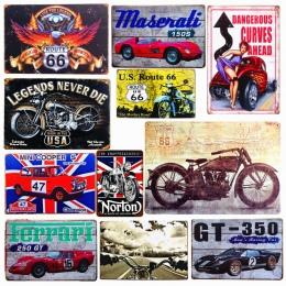 Płytki nazębnej motyw samochód znaki na metalowej blaszce w stylu vintage motocykl plakat na ścianie naklejki płyta malowanie Ba