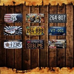 Las Vegas dekoracje ścienne do domu Metal plakat Texas US 66 w stylu Vintage plakietki emaliowane Maine kalifornii nowy jork sam