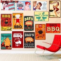 Tata jest grill najlepiej mięso Retro tablica dekoracje ścienne dla Bar Pub kuchnia dom w stylu Vintage Metal plakat płyta metal