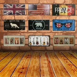 Metalowe plakietki emaliowane Native lisa flaga narodowa rocznika garaż tablicy rejestracyjnej tablica plakat Bar Club dekoracyj