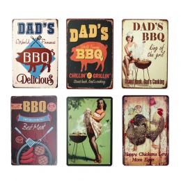 Tata jest grill Retro tablica dekoracje ścienne dla Bar Pub kuchnia Party strefy w stylu Vintage metalowe tabliczki plakat płyta