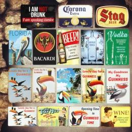 Rekordów guinnessa płytki nazębnej znaki na metalowej blaszce w stylu vintage Bar Pub płytki dekoracyjne wódki naklejki ścienne