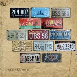 2019 w stylu Vintage metalowa plakietka emaliowana samochodowe numer tablicy rejestracyjnej Shabby Chic tablica ścienna plakat B