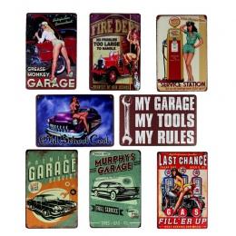 Hohappyme mój garaż moje narzędzia moje zasady plakietki metalowe ściany sztuki wystrój w stylu Vintage garaż wystrój płytki dek