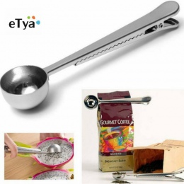 ETya 1 PC trwałe łyżka ze stali nierdzewnej z klips do torebek mielonej herbaty łyżka do kawy z przenośnej torbie uszczelnienie