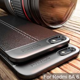 Wytrzymała obudowa do Xiaomi Redmi 6A skrzynki pokrywa silikonowa zderzak matowy liczi wzór, odporna na wstrząsy powrót etui na