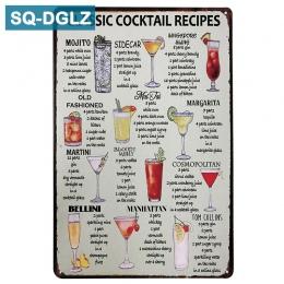 [SQ-DGLZ] Hot klasyczny koktajl przepisy metalowy znak w stylu Vintage metalowe płytki kawiarnia Pub klub dekoracje ścienne do d