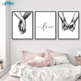 Nordic plakat czarny i biały trzymając się za ręce wydruki na płótnie kochanka cytat zdjęcia ścienny do salonu streszczenie mini