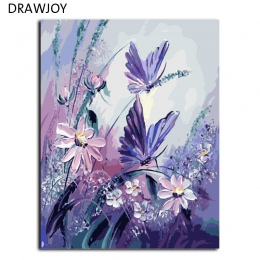DRAWJOY bezramowe zdjęcia malowanie numerami ręcznie malowane na płótnie DIY obraz olejny numerów 40*50 cm motyl G406