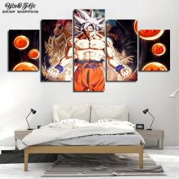 HD drukuje Dragon Ball Super plakaty dla dzieci pokój 5 sztuk Anime Goku na płótnie malowanie dzieł sztuki Cuadros obrazy dekora