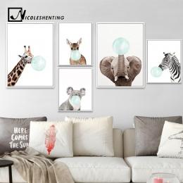 NICOLESHENTING dla dzieci zwierząt Zebra Girafe plakat na płótnie przedszkole Wall Art drukuj malarstwo Nordic obraz dekoracja d