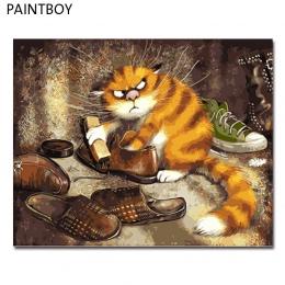 PAINTBOY oprawione obrazy malowanie numerami zwierząt Handwork obraz olejny na płótnie Home Decor dla pokoju gościnnego GX3221