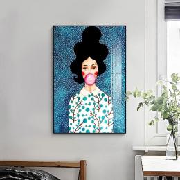Nordic nowoczesny styl ręcznie rysowane postacie kolorowe malarstwo na płótnie plakat wystrój obrazy na ścianę do salonu sypialn