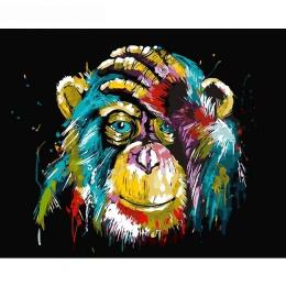 GATYZTORY bezramowe pawian zwierząt obraz DIY przez numer Wall obraz farby według numeru na płótnie malarstwo dla Home Decor gra