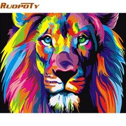 RUOPOTY ramka kolorowe lwy zwierząt obraz DIY według numerów nowoczesne ręcznie malowane obraz olejny wyjątkowy prezent dla dzie