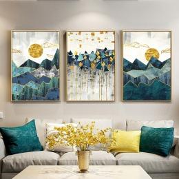 Nordic abstrakcyjne geometryczne krajobraz górski obraz ścienny na płótnie złote słońce plakat artystyczny obraz ścienny do salo