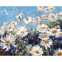 Bezramowe białe kwiaty obraz DIY przez numery nowoczesne Wall obraz farba akrylowa unikalny prezent dla wystrój domu 40x50 cm gr