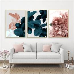 Zdjęcia ścienny do życia pokój liść Cuadros obraz Nordic plakat kwiatowy obraz ścienny na płótnie botaniczny plakaty i reprodukc