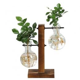 Terrarium roślina hydroponiczna wazony w stylu Vintage kwiat Pot przezroczyste wazon drewniana rama szklany blat roślin domu Bon
