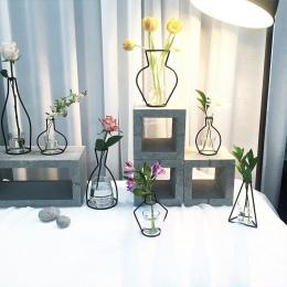 Strona główna dekoracja wazon streszczenie czarne linie minimalistyczny abstrakcyjny wazon z żelaza suszone kwiaty wazon stojaki