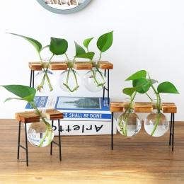 Nowe szkło vintage blat roślin Bonsai kwiat ślub domu wazon dekoracyjny drewniana podstawa Craft taca roślina hydroponiczna wazo