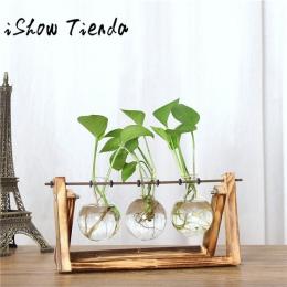 ISHOWTIENDA w stylu Vintage kreatywny roślina hydroponiczna przezroczyste wazon drewniana rama wazon do dekoracji szklany blat r