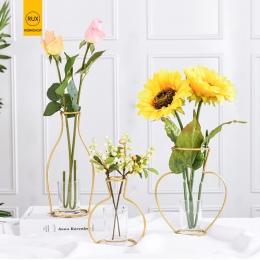 RUX warsztaty Nordic styl wazon dekoracji domu złoty sztuki żelaza drutu wazony suszone kwiaty kwiat ozdoby strona dekoracji dom