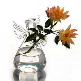 Hot śliczne jasne szkło anioł kształt kwiat roślin stojak wiszący wazon hydroponicznych Home Office Wedding Decor