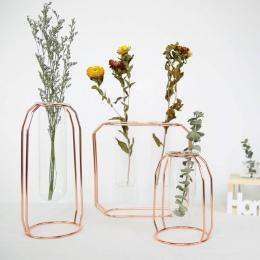 Korzystnym cenowo sklepie Lluxury 1 zestaw Nordic styl szkło żelaza wazon sztuki różowe złoto Ceometric kształt doniczka Home ak