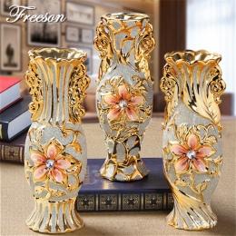 Europa pozłacane mróz waza porcelanowa w stylu Vintage zaawansowane ceramiczne wazon do studium pokoju Hallway Home dekoracje śl