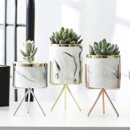 Nordic ceramiczne żelaza wazon sztuki wzór marmuru różowe złoto srebro blat zielona roślina doniczka biuro w domu wazony dekorac