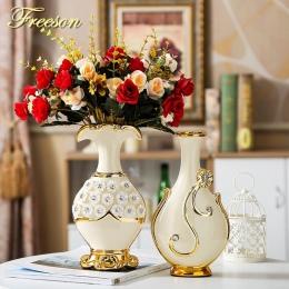 Europa ręcznie malowane pozłacane waza porcelanowa nowoczesny, zaawansowany ceramiczny kwiat wazon studium pokoju Hallway Home d