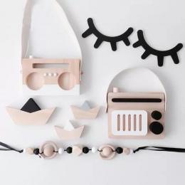 2 sztuk/zestaw Nordic drewna rzęsy Cartoon 3D naklejki ścienne DIY dzieci sypialnia rekwizyty domu salon wiszące dekoracje MI 00