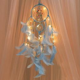 2 metrów oświetlenie Dream catcher wiszące DIY 20 LED lampa z piór rzemiosło wiatr kuranty dziewczyna sypialnia romantyczny wisz