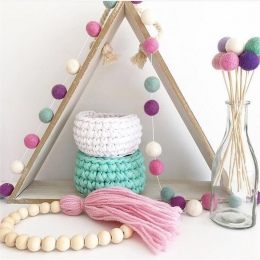 2 M ręcznie robiona wełna filcowe kulki dla dzieci pokój przedszkole Pom Pom Garland Ornament INS Nordic stylu dekoracja domu do