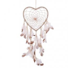 Indian Dream Catcher pióra koraliki Handmade okrągły serce netto Dreamcatcher samochodów Home wiszące Ornament dekoracyjny