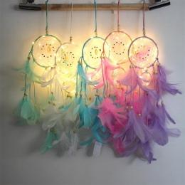 Dream Catcher oświetlenie LED z piór Dreamcatcher dziewczyna pokój dzwon sypialnia romantyczny wiszące dekoracji