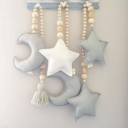 Nordic drewniane koraliki Ornament podwójny gwiazda księżyc dekoracja pokoju dla dzieci łóżeczko dziecięce namiot wiszący wisior