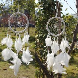 Dream Catcher okrągłe białe pióra ściany wiszące windchimes nordic dekoracji domu rzemiosła Dreamcatcher Craft prezent