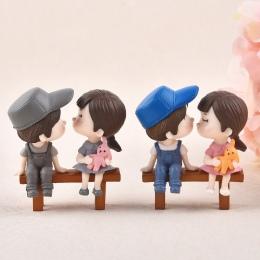 1 zestaw miłośników kochanków para krzesło figurki miniatury bajki ogród Gnome mech prezent na Walentynki żywica rzemiosło dekor