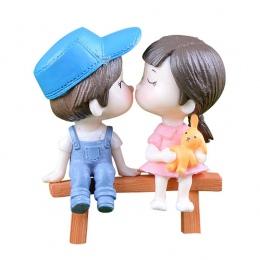 1 para miłośników kochanków para na krzesło figurki miniaturowe rzemiosło bajki ogród Gnome mech do Terrarium prezent DIY Orname