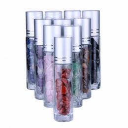 10 sztuk naturalne półszlachetnych kamieni OLEJEK ETERYCZNY kamień szlachetny szklane butelki przezroczyste szkło 10 ml uzdrowie