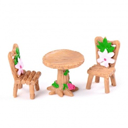 3 sztuk/zestaw stół krzesło żywica rzemiosła Micro krajobraz ozdoba bajki ogród miniaturowe Terrarium figurka Bonsai dekoracji
