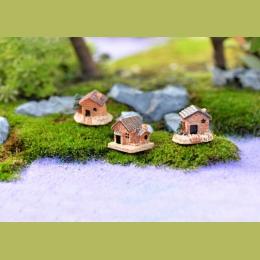 Mini mały dom domki DIY zabawki rzemiosło rysunek mech Terrarium bajki ogród ozdoba krajobraz wystrój losowy kolor domek dla lal
