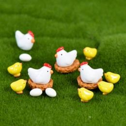 ZOCDOU 10 sztuk w obiekcie kurczaczek kurczak gniazdo jaj małe pastwisko statua figurka mikro rzemiosło Ornament miniatury DIY d