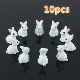 10 sztuk piękne miniaturowe mini królik żywica ogród wróżka ozdoba doniczka na kwiaty figurka zwierząt wystrój @ LS JU0117