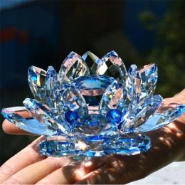 80mm kwarcowy kryształowy kwiat lotosu rzemiosła szklany przycisk do papieru feng shui ozdoby figurki Home Wedding Party Decor p